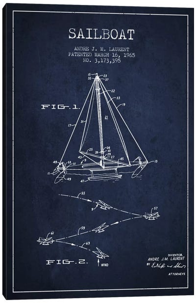 Double Ended Sailboat Navy Blue Patent Blueprint Canvas Art Print