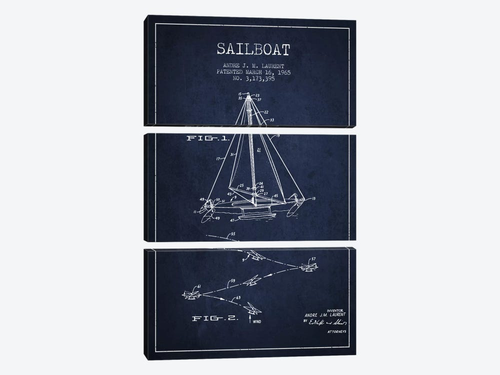 Double Ended Sailboat Navy Blue Patent Blueprint by Aged Pixel 3-piece Canvas Art Print