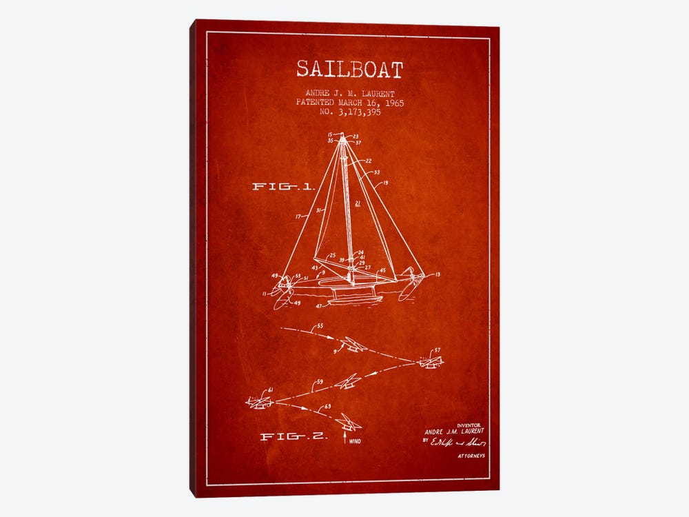 Double Ended Sailboat Red Patent Blueprint by Aged Pixel 1-piece Canvas Art