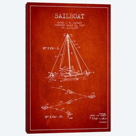 Double Ended Sailboat Red Patent Blueprint Canvas Print #ADP2743} by Aged Pixel Art Print