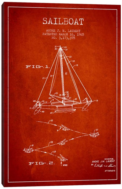 Double Ended Sailboat Red Patent Blueprint Canvas Art Print
