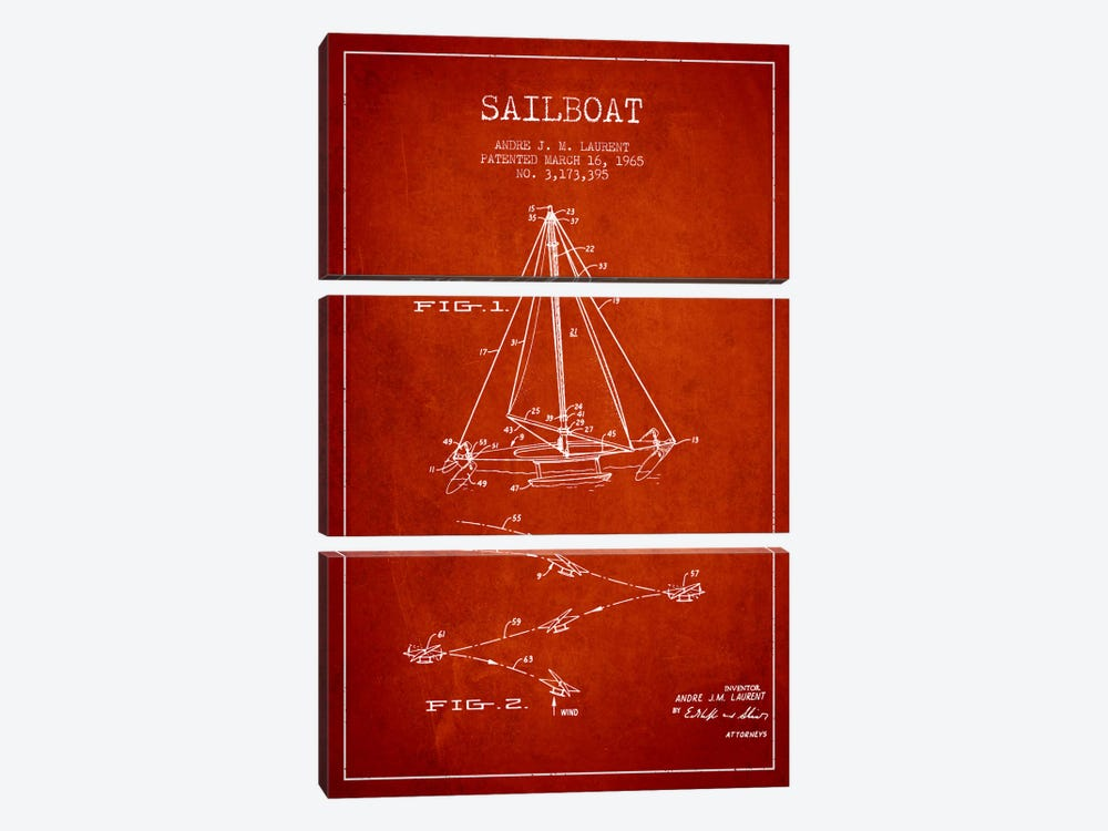 Double Ended Sailboat Red Patent Blueprint by Aged Pixel 3-piece Canvas Artwork