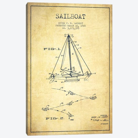 Double Ended Sailboat Vintage Patent Blueprint Canvas Print #ADP2744} by Aged Pixel Canvas Art