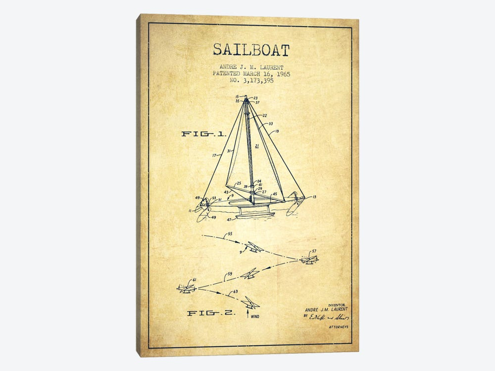 Double Ended Sailboat Vintage Patent Blueprint by Aged Pixel 1-piece Canvas Art Print