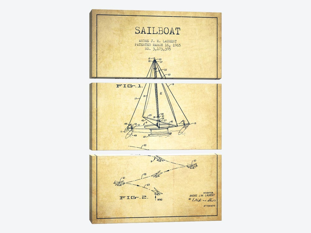 Double Ended Sailboat Vintage Patent Blueprint by Aged Pixel 3-piece Canvas Print