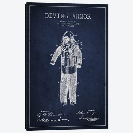 Diving Suit Blue Patent Blueprint Canvas Print #ADP2745} by Aged Pixel Canvas Wall Art