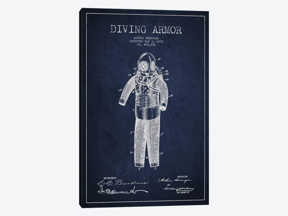 Diving Suit Blue Patent Blueprint by Aged Pixel 1-piece Canvas Art