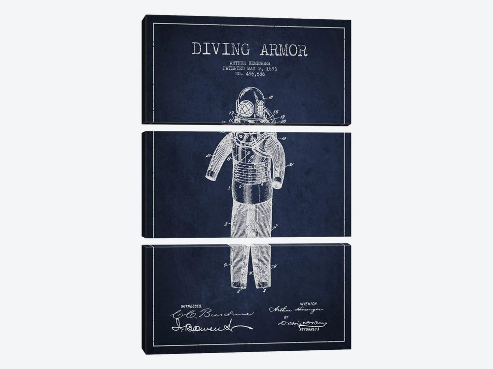 Diving Suit Blue Patent Blueprint by Aged Pixel 3-piece Canvas Artwork