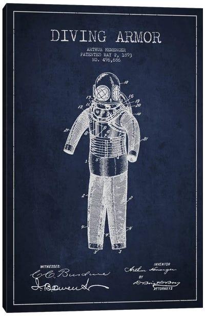Diving Suit Blue Patent Blueprint Canvas Art Print