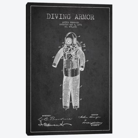 Diving Suit Dark Patent Blueprint Canvas Print #ADP2746} by Aged Pixel Canvas Artwork