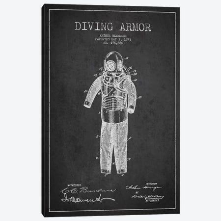 Diving Suit Dark Patent Blueprint Canvas Print #ADP2746} by Aged Pixel Canvas Artwork