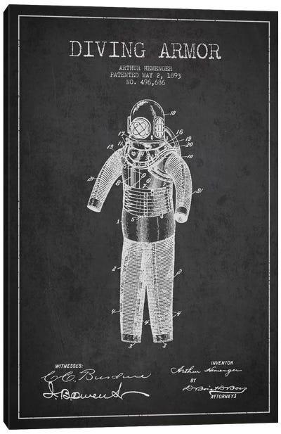 Diving Suit Dark Patent Blueprint Canvas Art Print