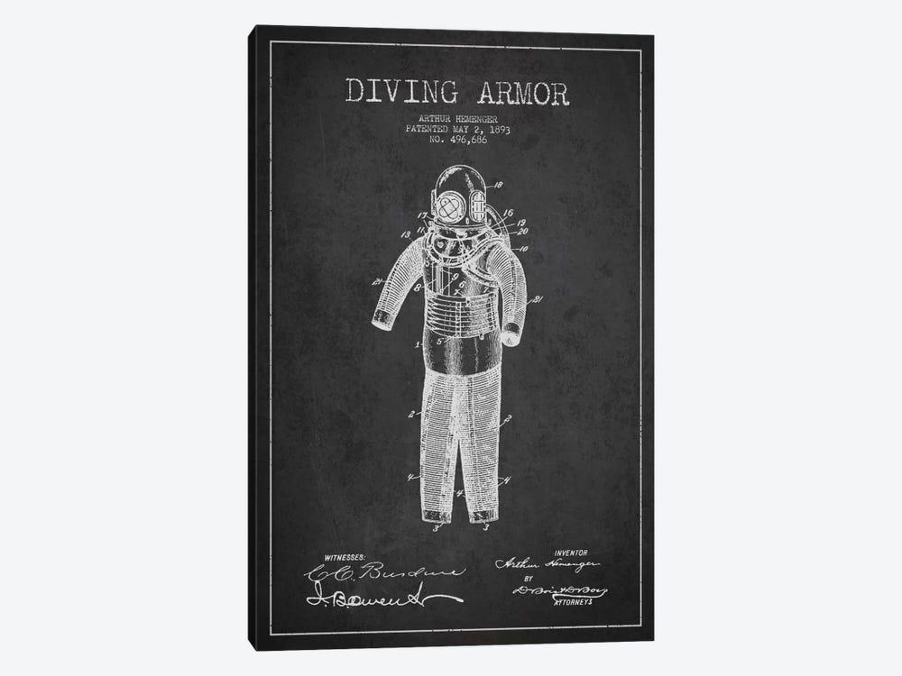 Diving Suit Dark Patent Blueprint by Aged Pixel 1-piece Canvas Art Print