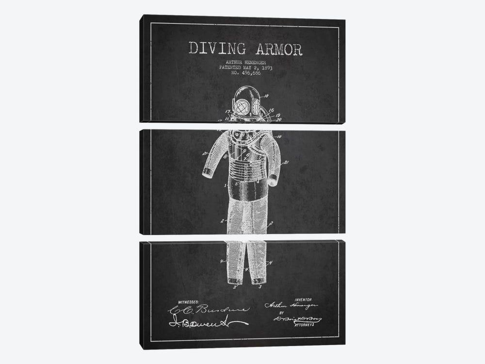 Diving Suit Dark Patent Blueprint by Aged Pixel 3-piece Canvas Art Print