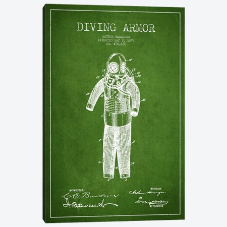 Diving Suit Green Patent Blueprint Canvas Print #ADP2747} by Aged Pixel Canvas Art