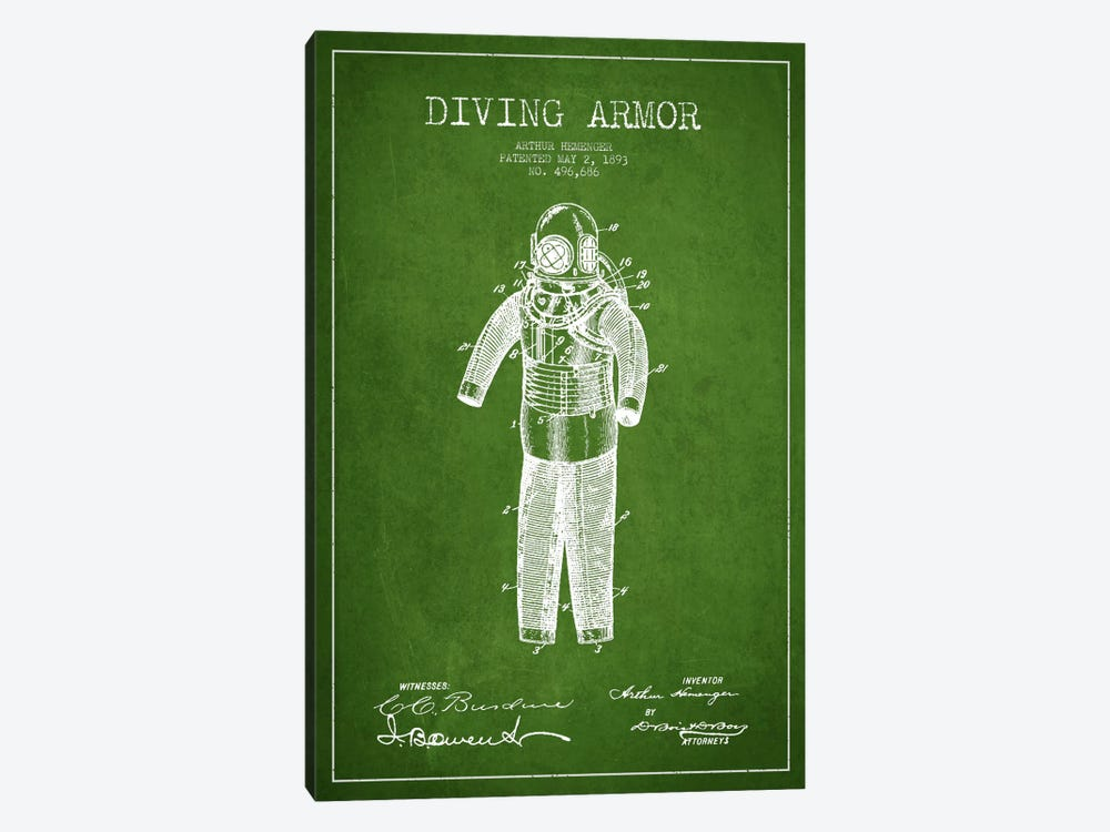 Diving Suit Green Patent Blueprint by Aged Pixel 1-piece Canvas Wall Art