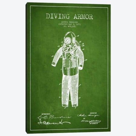 Diving Suit Green Patent Blueprint Canvas Print #ADP2747} by Aged Pixel Canvas Art