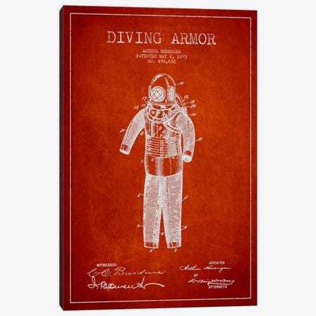 Diving Suit Red Patent Blueprint Canvas Print #ADP2748} by Aged Pixel Canvas Art Print