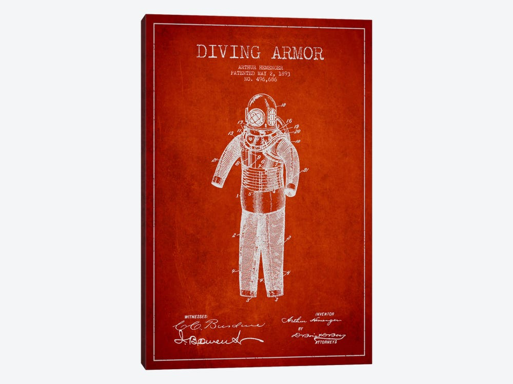 Diving Suit Red Patent Blueprint by Aged Pixel 1-piece Canvas Art Print