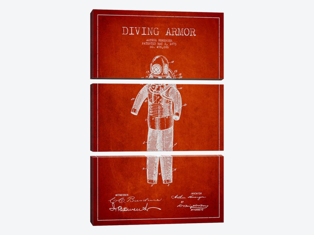 Diving Suit Red Patent Blueprint by Aged Pixel 3-piece Canvas Print