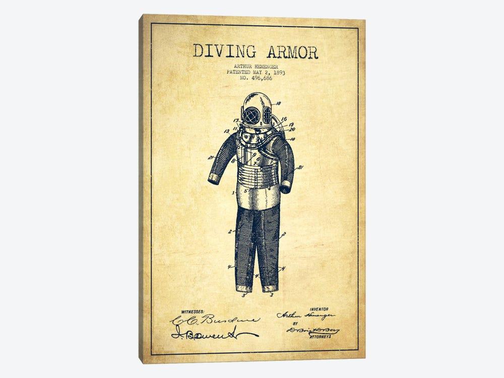 Diving Suit Vintage Patent Blueprint by Aged Pixel 1-piece Canvas Wall Art