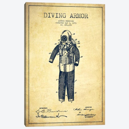 Diving Suit Vintage Patent Blueprint Canvas Print #ADP2749} by Aged Pixel Art Print