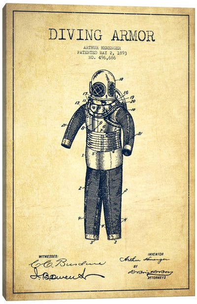 Diving Suit Vintage Patent Blueprint Canvas Art Print