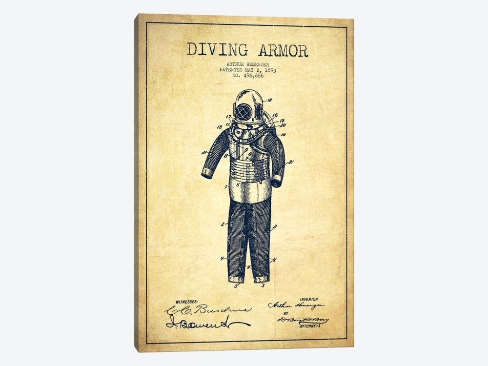 Diving Suit Vintage Patent Blueprint by Aged Pixel 1-piece Canvas Wall Art