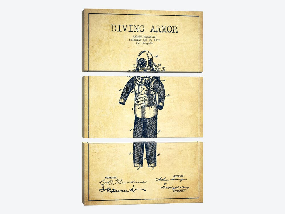 Diving Suit Vintage Patent Blueprint by Aged Pixel 3-piece Canvas Wall Art