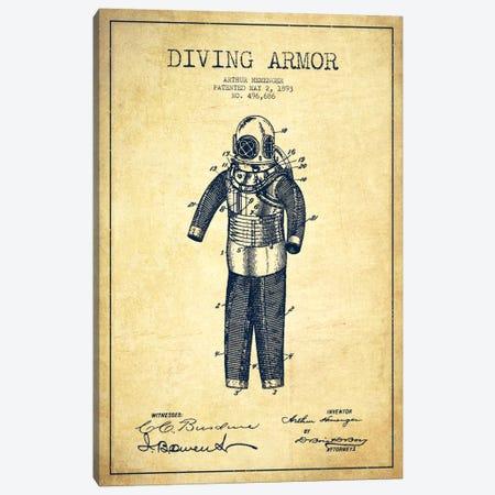 Diving Suit Vintage Patent Blueprint Canvas Print #ADP2749} by Aged Pixel Art Print