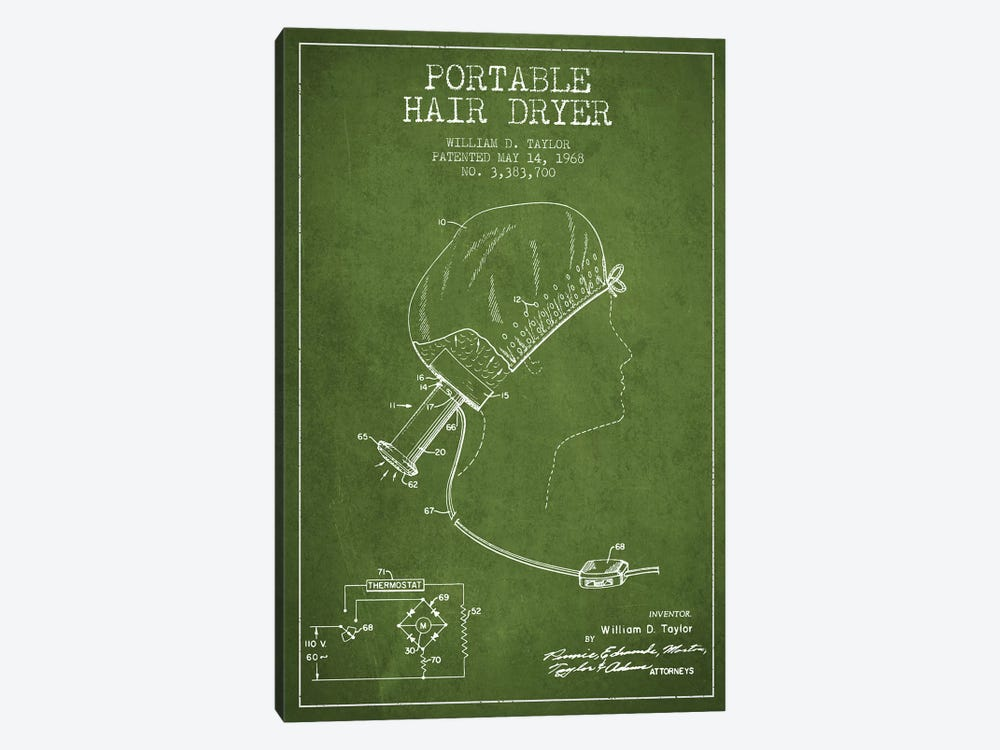 Portable Hair Dryer Green Patent Blueprint by Aged Pixel 1-piece Canvas Print