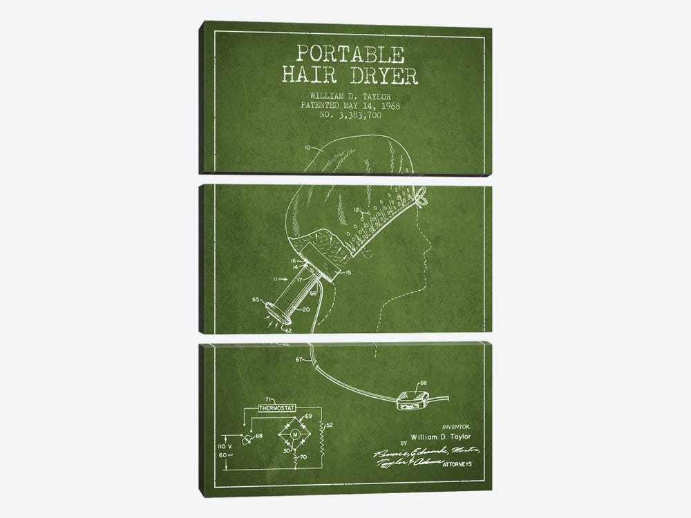 Portable Hair Dryer Green Patent Blueprint by Aged Pixel 3-piece Art Print
