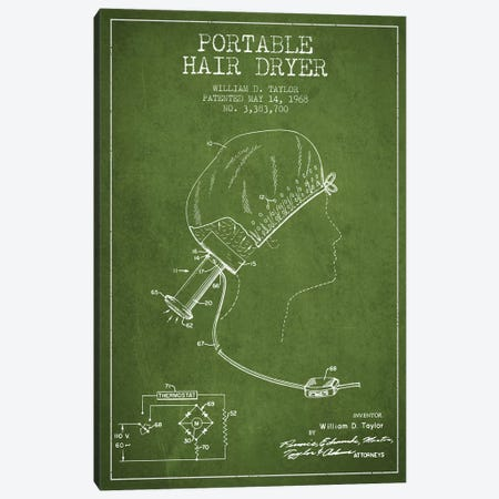 Portable Hair Dryer Green Patent Blueprint Canvas Print #ADP274} by Aged Pixel Canvas Art Print
