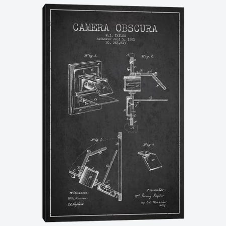 Camera Charcoal Patent Blueprint Canvas Print #ADP2750} by Aged Pixel Canvas Artwork