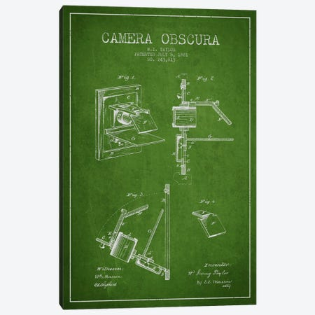 Camera Green Patent Blueprint Canvas Print #ADP2751} by Aged Pixel Canvas Wall Art