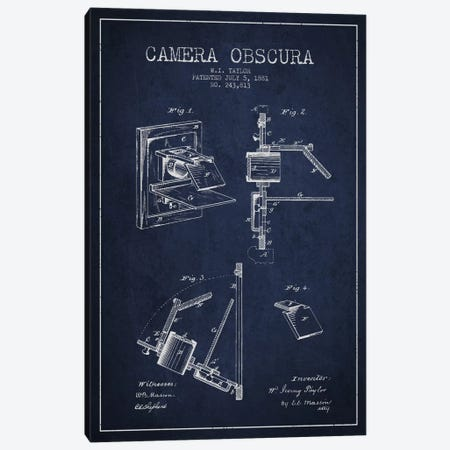 Camera Navy Blue Patent Blueprint Canvas Print #ADP2752} by Aged Pixel Canvas Art