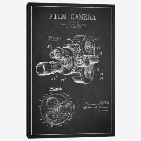 Camera Charcoal Patent Blueprint Canvas Print #ADP2755} by Aged Pixel Art Print