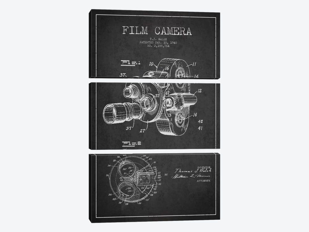 Camera Charcoal Patent Blueprint by Aged Pixel 3-piece Art Print