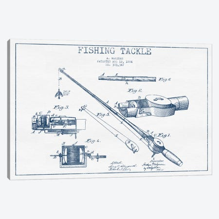 A. Wakeman Fishing Tackle Patent Sketch (Ink) Canvas Print #ADP2757} by Aged Pixel Canvas Print