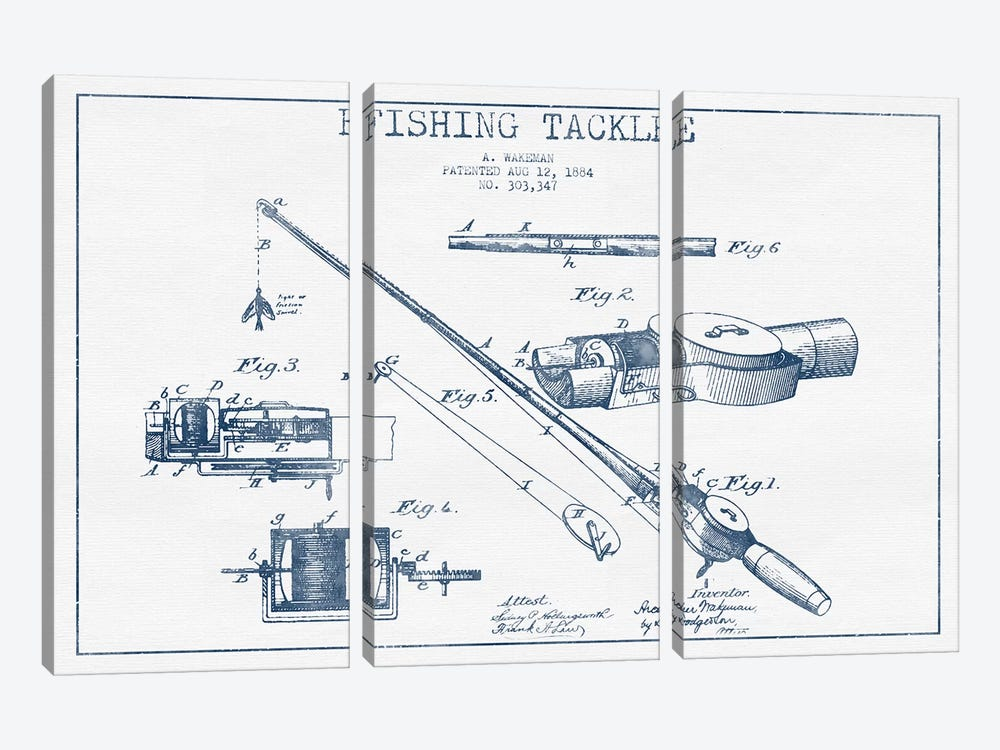 A. Wakeman Fishing Tackle Patent Sketch (Ink) by Aged Pixel 3-piece Canvas Art Print