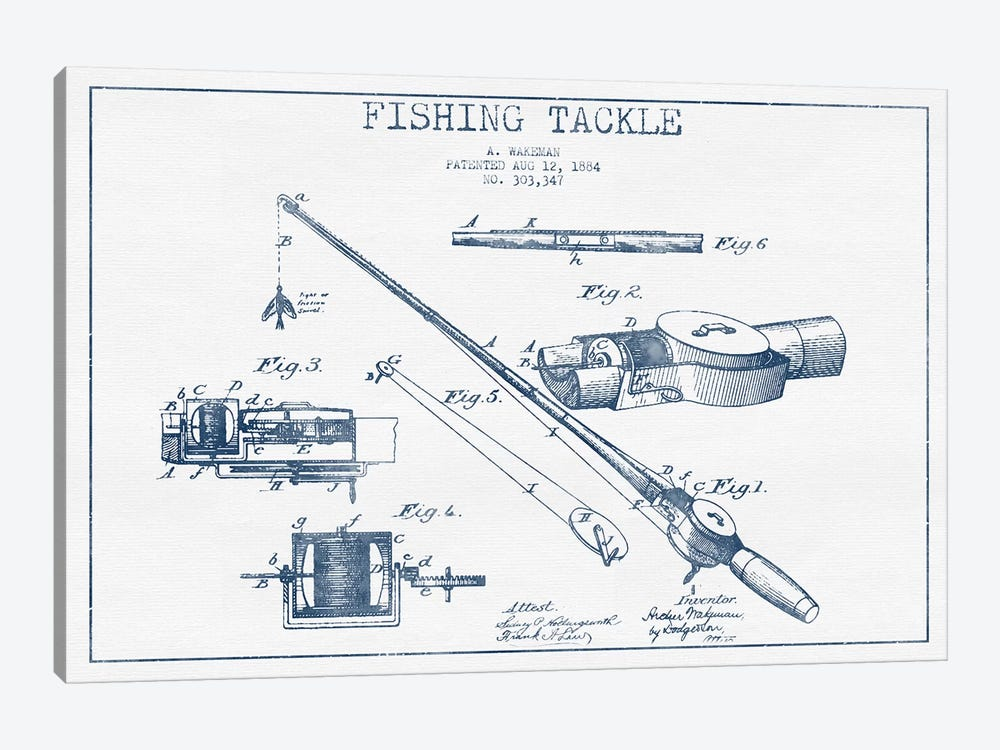 A. Wakeman Fishing Tackle Patent Sketch (Ink) by Aged Pixel 1-piece Canvas Art Print