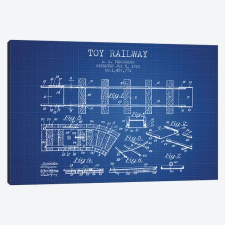 A.R. Fergusson Toy Railway Patent Sketch (Blue Grid) Canvas Print #ADP2758} by Aged Pixel Canvas Artwork