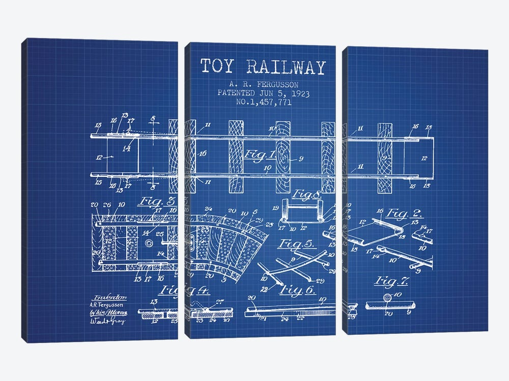 A.R. Fergusson Toy Railway Patent Sketch (Blue Grid) by Aged Pixel 3-piece Canvas Artwork