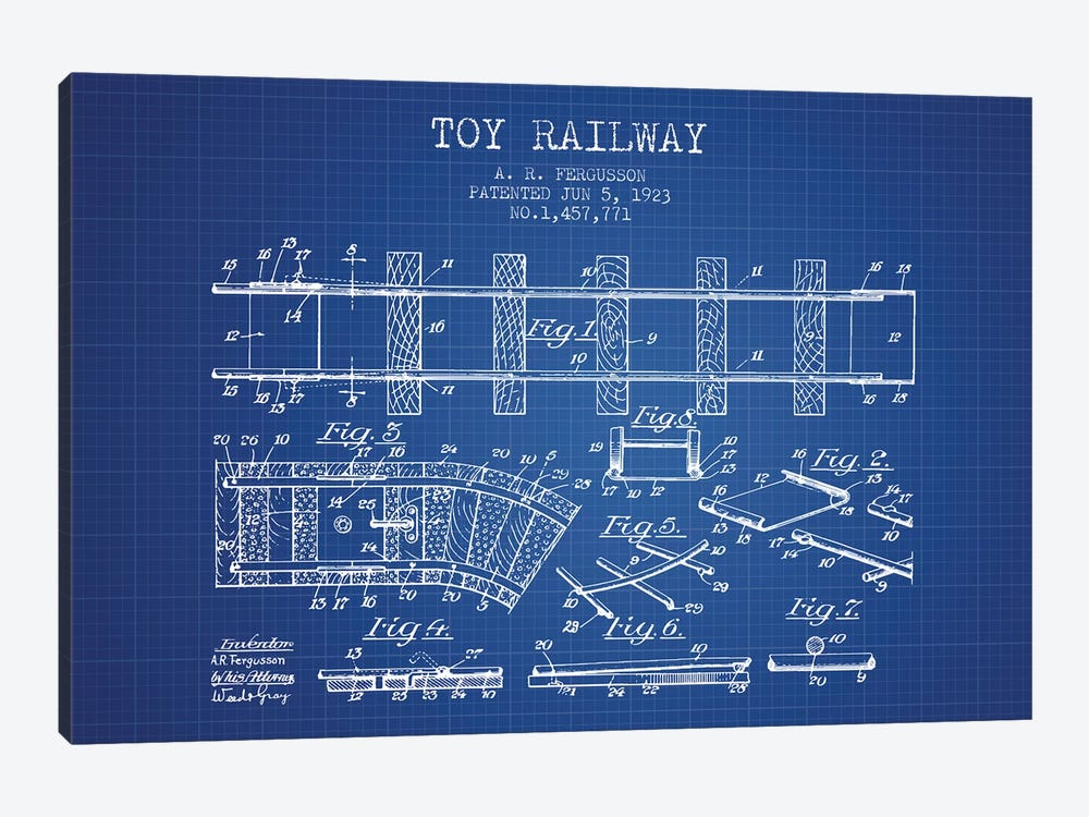 A.R. Fergusson Toy Railway Patent Sketch (Blue Grid) by Aged Pixel 1-piece Canvas Artwork
