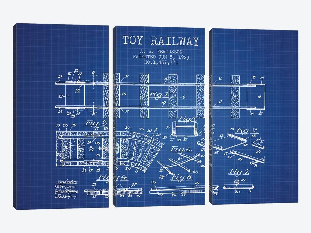 A.R. Fergusson Toy Railway Patent Sketch (Blue Grid) by Aged Pixel 3-piece Canvas Artwork