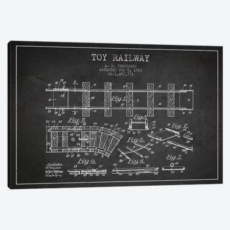 A.R. Fergusson Toy Railway Patent Sketch (Charcoal) Canvas Print #ADP2759} by Aged Pixel Canvas Wall Art
