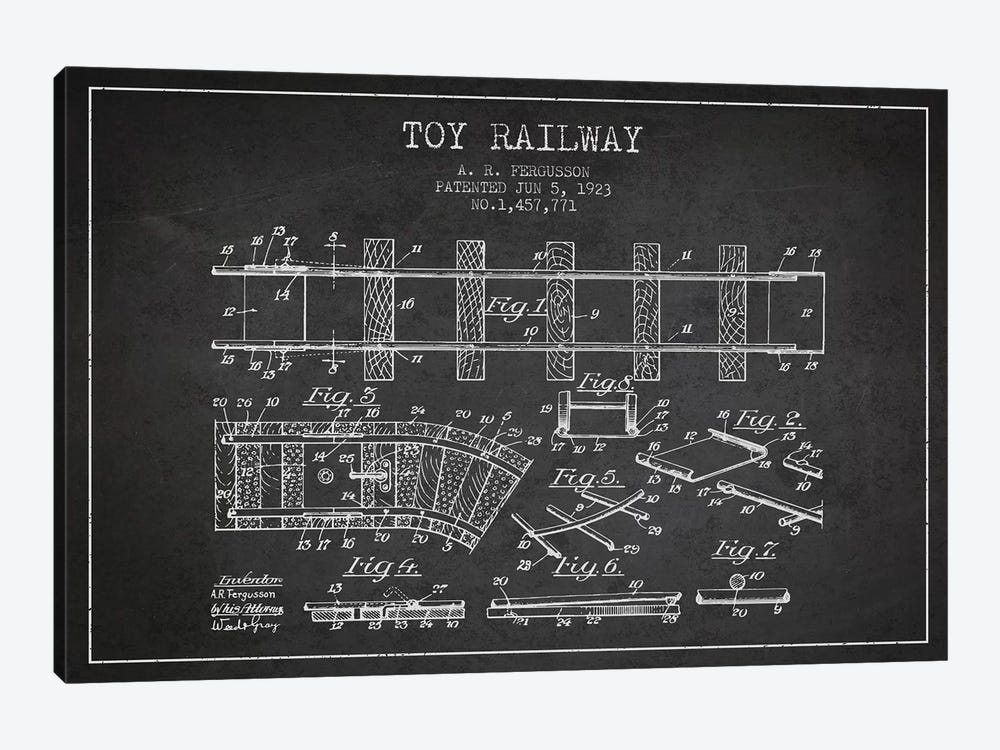 A.R. Fergusson Toy Railway Patent Sketch (Charcoal) by Aged Pixel 1-piece Canvas Print