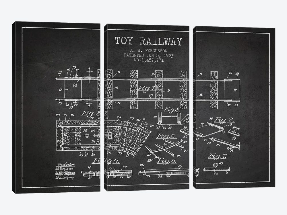 A.R. Fergusson Toy Railway Patent Sketch (Charcoal) by Aged Pixel 3-piece Canvas Print