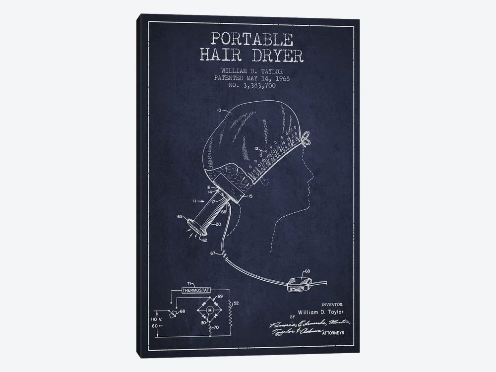 Portable Hair Dryer Navy Blue Patent Blueprint by Aged Pixel 1-piece Canvas Wall Art