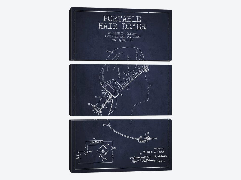 Portable Hair Dryer Navy Blue Patent Blueprint by Aged Pixel 3-piece Canvas Wall Art